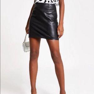 Black Genuine Leather A-line Skirt 2